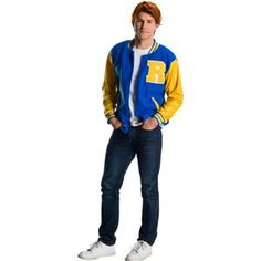 This Riverdale Archie Andrews Deluxe Adult Halloween Costume is fun for fans of the popular TV series to wear for Halloween events. Deluxe costume includes an Archie wig and blue and yellow Riverdale varsity jacket for an authentic look. Movie Costumes, Adult Costumes, Group Costumes, Riverdale Halloween Costumes, Halloween Decorations, Halloween Lighting, Creepy, Minnie Mouse, Riverdale Archie
