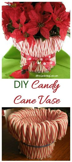 This DIY candy cane vase makes an easy holiday decor project that is as much fun to make as it is to display. All you need are candy canes & a few supplies. Christmas Vases, Christmas Diy, Christmas Decorations, Holiday Decor, Christmas Stuff, Fun Crafts, Crafts For Kids, Amazing Crafts, Diy Garden Decor