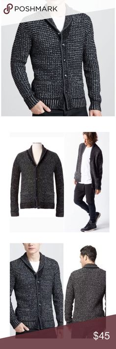 NEW Rag and Bone Sweater Large Neiman Marcus Gray NEW Rag & Bone NM limited edition Men's Heathered Shawl-Collar Cardigan Although this is a men's sweater it is also cute when worn as a baggy sweater over leggings for women! With classic, rustic style. this rag & bone cardigan sweater is the perfect cold-weather staple. Brand new with tags's, size large •Three-gauge heather combo knit. •Contrast shawl collar with tipping; button front. •Long sleeves with ribbed cuffs. •Ribbed welt pockets…