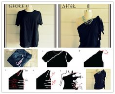 How to make a DIY no sew one shoulder shirt from a Mens shirt step by step tutorial instructions