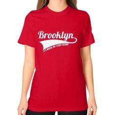 Fashions brooklynx Unisex T-Shirt (on woman)