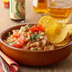 Chicken and White Bean Taco Dip From Better Homes and Gardens, ideas and improvement projects for your home and garden plus recipes and entertaining ideas.