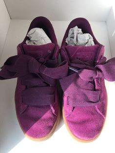 391c2778a1c7 Puma Suede Heart Girls Dark Purple Shoes Size 3  fashion  clothing  shoes