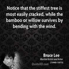 """Notice that the stiffest tree is most easily cracked, while the bamboo or willow survives by bending with the wind."" Bruce Lee Quote ༺♥༻"