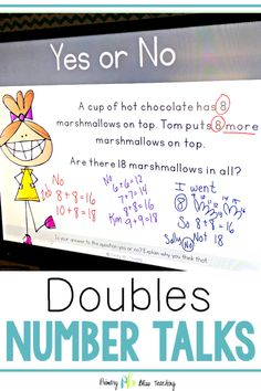 These Number Talks reinforce the DOUBLES strategy when adding and subtracting within They help develop mental computational fluency. They meet first grade and second grade common core math standards. First Grade Lessons, Teaching First Grade, First Grade Math, Teaching Math, Math Lessons, Math Fact Practice, Math Talk, Math Fact Fluency, Number Talks