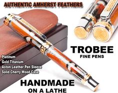 Beautiful Amherst feather rollerball pen. Rare one by TrobeePens, $249.99