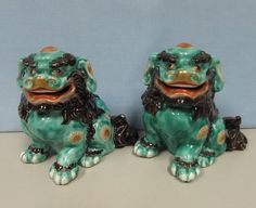Antique Pair of Japanese Kutani shi shi foo dogs
