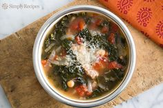 Kale Sausage Soup with Tomatoes and Chickpeas ~ Hearty kale sausage soup! With Italian sausage, tomatoes, garbanzo beans, onions, garlic, and kale. ~ SimplyRecipes.com