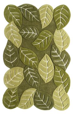 Direct Home Textiles Nature's Beauty Leaf Green Elm Leaves Rug