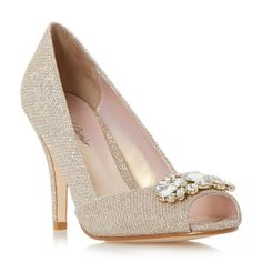 ROLAND CARTIER LADIES DARLINE - Jewel Peep Toe High Heel Court Shoe - gold | Dune Shoes Online
