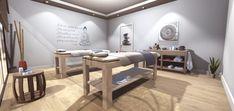 Massage Room Colors, Massage Room Design, Massage Room Decor, Massage Therapy Rooms, Spa Room Decor, Spa Interior Design, Spa Design, Studio Interior, Salon Design