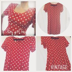 """This is a vintage 'My Michelle' red, polka-dot dress with padded shoulders circa 1980s/90s. Size 9/10. Length 33.5"""" inches, waist 29"""" inches (approx.) Bust 36"""" inches (approx.). Fabric 43% Rayon, 57% Acetate, Dry Clean Only. Made in USA:) Good condition. Available in both my #Vinted and #Poshmark #closet link above:) #shopposh #shopresale #shopvintage #vintage #eighties #nineties #forties #fifties #shopresale #resalefashion #vintagefashion #fashion"""