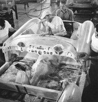 GM Manufacturing 1953 Corvette at their St. Louis, MO plant with body and structural parts from Molded Fiber Glass Company of Ashtabula, OH.