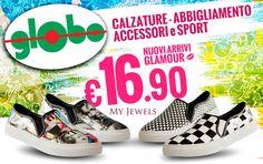 """Globo si veste di nuovi colori!  Pronti alla primavera con le nuove calzature slip-on firmate """"My Jewels"""" a solo €16.90 ... Vi aspettiamo!"""