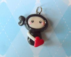 Chibi Ninja Charm Kawaii Polymer Clay Charm by JollyCharms on Etsy, $5.50