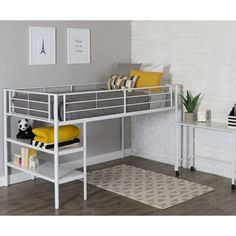Perfect for space saving needs, this stylish loft bed is the perfect addition to any kids bedroom or playroom. Features an integrated step ladder that can also be used to store books, toys, games, and more. Features full length guardrails on all four side to provide your child maximum safety . Unlike other beds, this includes a pull-out desk that can be used for work or play with caster wheels for easy use and storage.