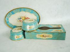 Vintage Turquoise Decorative Tins Instant Tin by SwirlingOrange11, $69.00
