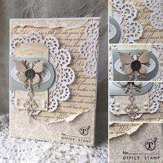card vintage doily butterfly