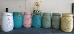 Set of 3 Shabby Mason Ball Jar Chalk Blended Paint Customize Colors  Vase Candle Holder Change Jar Cottage Wedding Distressed