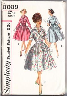Vintage 1959 Simplicity 3039 Sewing Pattern Juniors', Misses' One-Piece Dress and Cummerbund Size 14 Bust 34