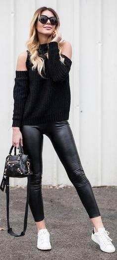 Calzedonia leggings | Shein sweater | Shein coat | Isabel Marant sneakers | Balenciaga bag | Celine sunglasses || Blak And White || Zorannah #calzedonia