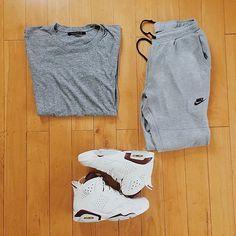 Outfit grid - T-shirt, joggers & hi-tops