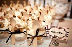 Tiramisu for a Burberry theme. Via Amy Atlas Italian Desserts, Mini Desserts, Dessert Recipes, Tiramisu Cups, Tiramisu Dessert, Wedding Canapes, Dessert Buffet, Dessert Cups, Wine Parties