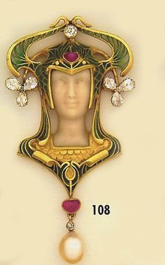 Art Nouveau Brooch, Carved ivory cameo, diamond, cabochon ruby, plique-à