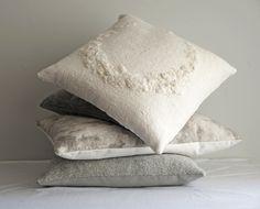 Wool Pillow White Felted Cushion Cover Felt by on Etsy Felt Cushion, Felt Pillow, White Pillows, Wool Pillows, Throw Pillows, Black Tulips, Nuno Felting, Felt Art, Fabric Art