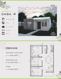 Modelos y Diseños de Casas de Un Piso Costa Rica Little House Plans, Small House Floor Plans, Modern House Plans, Tiny House Layout, House Layouts, Bungalow House Design, Small House Design, Casas Containers, Compact House
