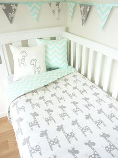 Grey and mint giraffe nursery set | Shop. Rent. Consign. MotherhoodCloset.com Maternity Consignment
