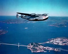 Boeing 314 over Yerba Buena Island, our navy home in 1983-84.