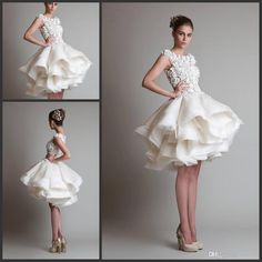 2015 New Gorgeous Jewel Tulle Satin Nice Organza Knee Length Tiered Short Prom Ball Gown Graduation Evening Dresses Custom Made Online with $114.98/Piece on Iubride's Store | DHgate.com