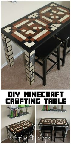 Boys Homework Station: DIY Minecraft Crafting Table My boys are obsessed with Minecraft so when I was decorating their room, I wanted a homework table. So I made this Minecraft crafting table for them. Minecraft Room, Minecraft Furniture, Minecraft Crafts, Minecraft Cake, Minecraft Buildings, Boys Minecraft Bedroom, Lego Room, Minecraft Stuff, Minecraft Party