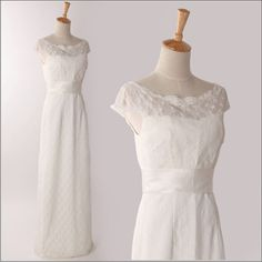 Vintage Inspired Lace Wedding Dress Cap Sleeves Bridal Gown