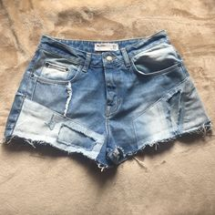 TRF high waisted denim shorts Zara Denim Shorts. Patched distressed design. In very good condition! Slightly high waisted Zara Shorts