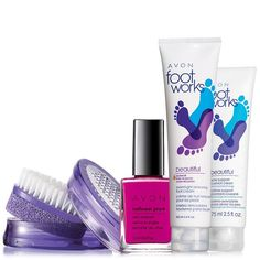 """Want a salon-style pedi without the salon? Give tired feet comfort and toes that finishing touch. A $27 value, the set includes:Overnight Renewing Foot Cream – 3.4 fl. oz. A $5.50 value.Sole Support Cushion Cream – 2.5 fl. oz. A $6 value.Nailwear Pro+ nail Enamel in Berry Smooth – .4 fl. oz. A $6 value.Pedicure Tool – 3 1/8"""" L x 1 3/4"""" W x 1 1/2"""" H. Plastic. A $10 value."""