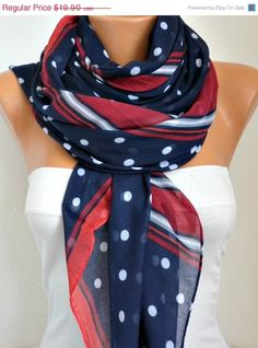 Navy Blue Polka dots Cotton Scarf Spring Summer Shawl by fatwoman