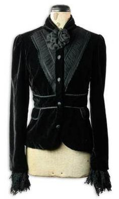 Beautiful Velvet Jacket. I love extra-long sleeves or cuffs that hide the hands + make the arms look longer...