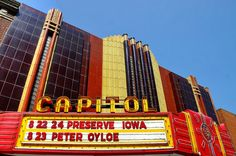 I'm all for it - and the fabulous 1937 Capitol Theater in Burlington serves as a fine example. It had been closed for 35 of its 75 years when proudly reopened in June 2012. The magical story of its restoration and comeback is here and photos here. Added to the National Register of Historic Places in 1996. Photo by Lights in My Hometown via @Flickr #burlington #iowa #ia #theatre #lost_cinema #cinema #1930s #travel #restoration #preservation #architecture #movie_house #national_register #history
