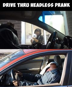 """Have you seen the """"headless"""" drive thru prank yet? One of the best car pranks of all time! #lol #spon"""