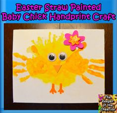 The Keeper of the Cheerios: Easter Straw Painted Baby Chick Hand Print Craft