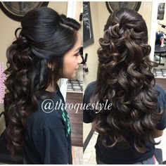 Pin curl updos are another updo hairstyle where the updo hair is curled. Half Updo Wavy Curls In 2019 Quinceanera Hairstyles Updo By Robby Garza On Frizo In Quince Hairstyles, Wedding Hairstyles For Long Hair, Wedding Hair And Makeup, Bride Hairstyles, Cool Hairstyles, Long Curly Wedding Hair, Sweet 16 Hairstyles, Wedding Bun, Indian Bridal Hairstyles