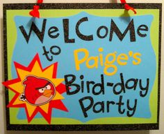 Great Angry Birds Birthday Sign
