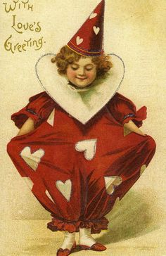 Vintage Valentine girl clown in red with white hearts