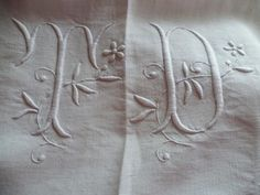 Vintage French  Pure Linen  Sheet Monogrammed TD by CafeParisien,