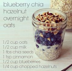 Simple-yet-delicious, hazelnuts are a yummy addition to our blueberry overnight oats this morning ☀️Mix oats, milk, chia seeds & cinnamon in a jar and place in the fridge overnight. hazelnuts are a yummy addition to our Blueberry Overnight Oats, Overnight Oatmeal, Healthy Overnight Oats, Blueberry Breakfast, Breakfast Smoothies, Healthy Snacks, Healthy Eating, Healthy Recipes, Diet Snacks