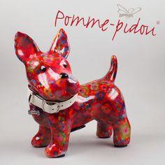 Pomme Pidou Hund (Terrier) BOOMER rot Blumen