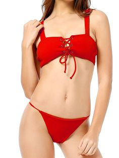 Sexy Backless Solid Color Front String Bikini Swimwear Swimsuit For Women is worth buying, see more other sexy bikinis & tankinis on NewChic. White Bikinis, Summer Bikinis, Red Bikini, Bikini Swimwear, Bikini Beach, See Through Bikini, Bikini Prep, Bikini Outfits, Body Suit Outfits