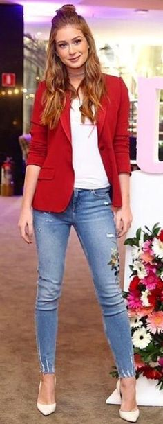summer outfits Red Blazer + White Tee + Ripped Skinny Jeans